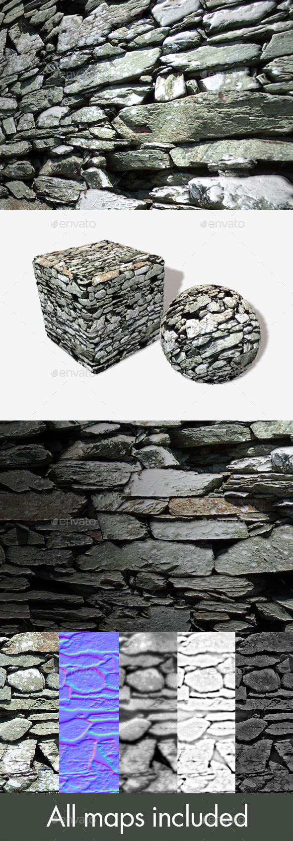 Rough Stone Wall Seamless Texture - 3DOcean Item for Sale