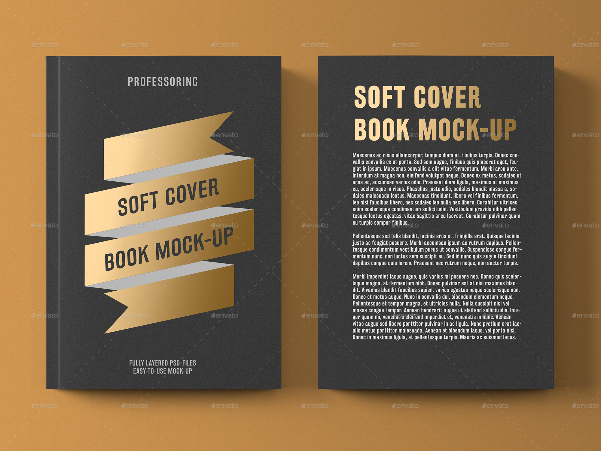 Soft Cover Book Mockup Template ~ Soft cover book with foil stamping mock up by professorinc