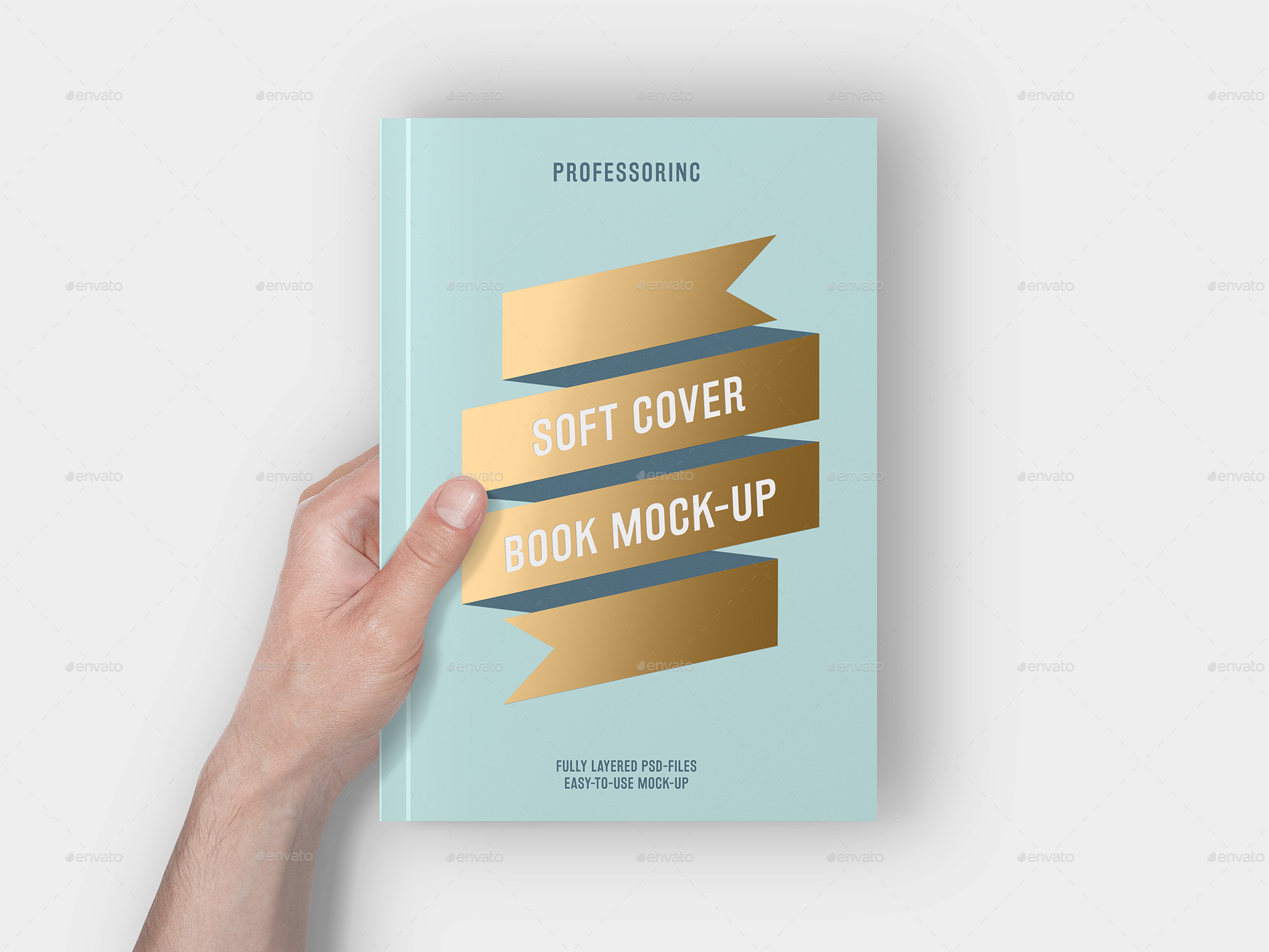 Business Book Cover Up ~ Soft cover book with foil stamping mock up by professorinc