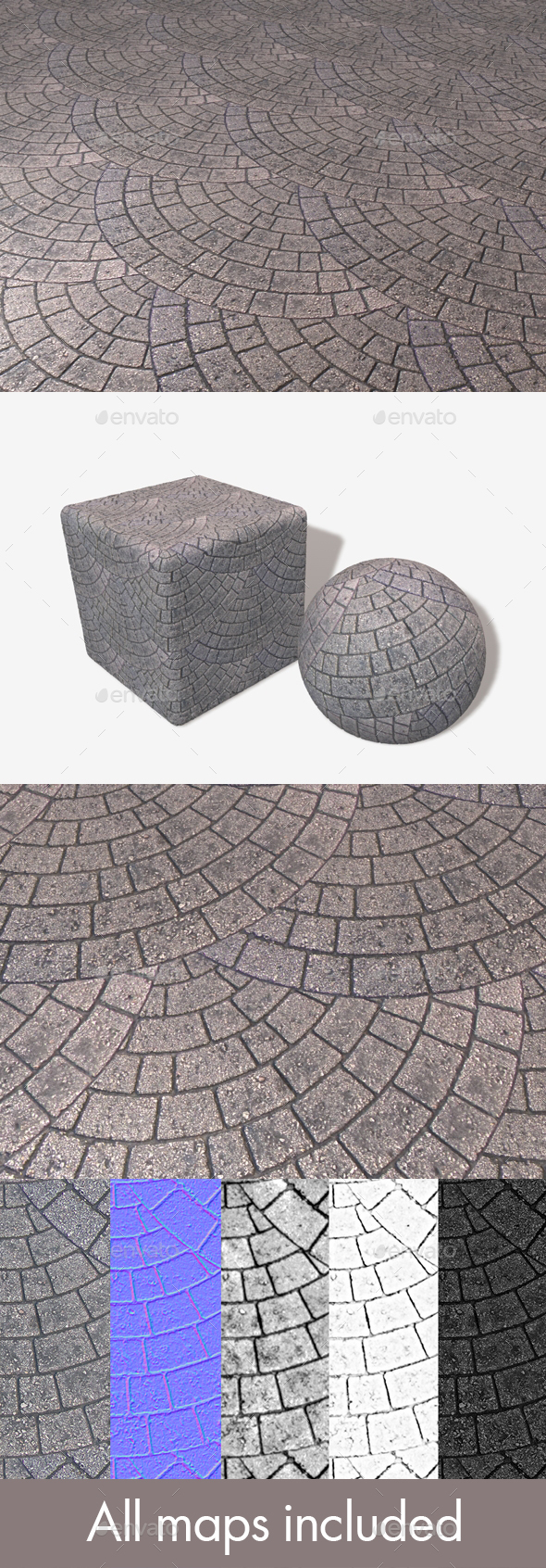 Brick Paving Circle Pattern Seamless Texture - 3DOcean Item for Sale