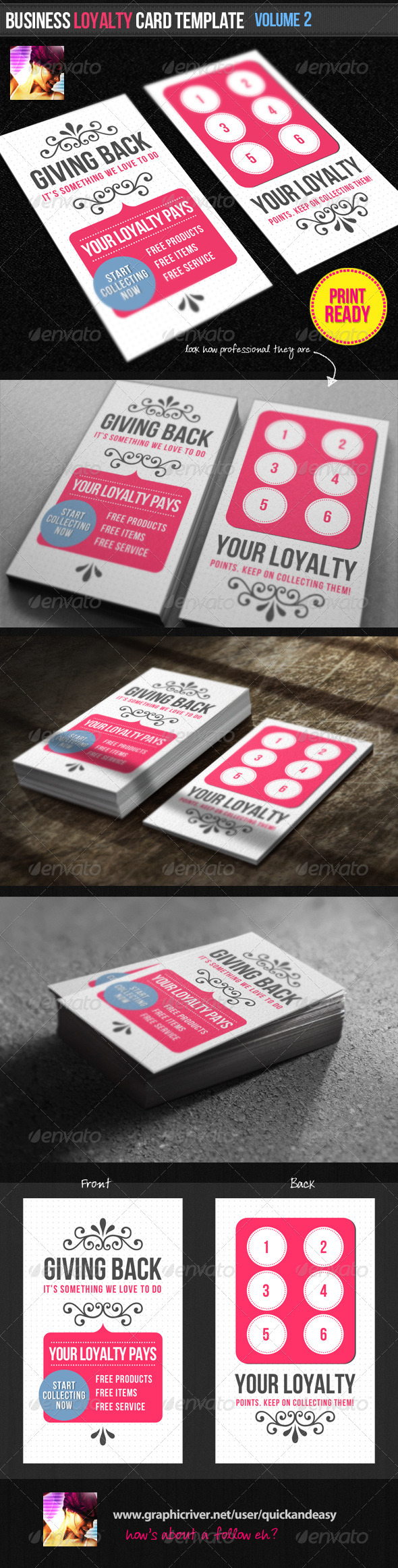 Business Loyalty Card Template Vol By Quickandeasy GraphicRiver - Loyalty card template