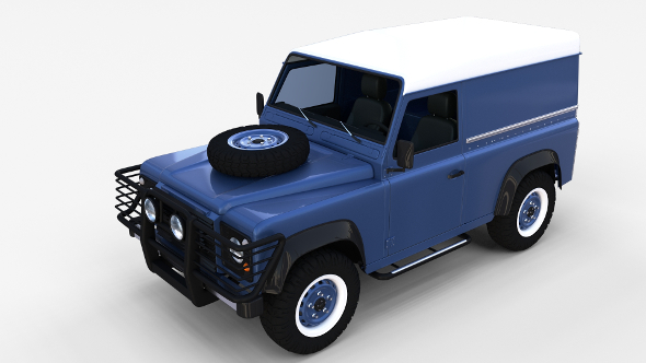 Land Rover Defender 90 Hard Top w interior rev - 3DOcean Item for Sale