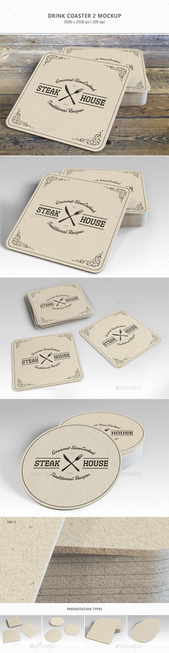 Drink Coaster Mock-Up Vol. 2 - Miscellaneous Product Mock-Ups