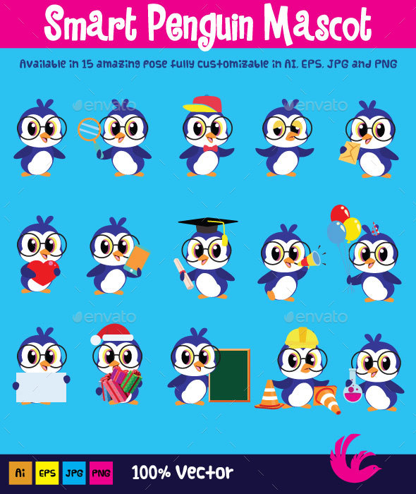 Smart Penguin Mascot - Animals Characters