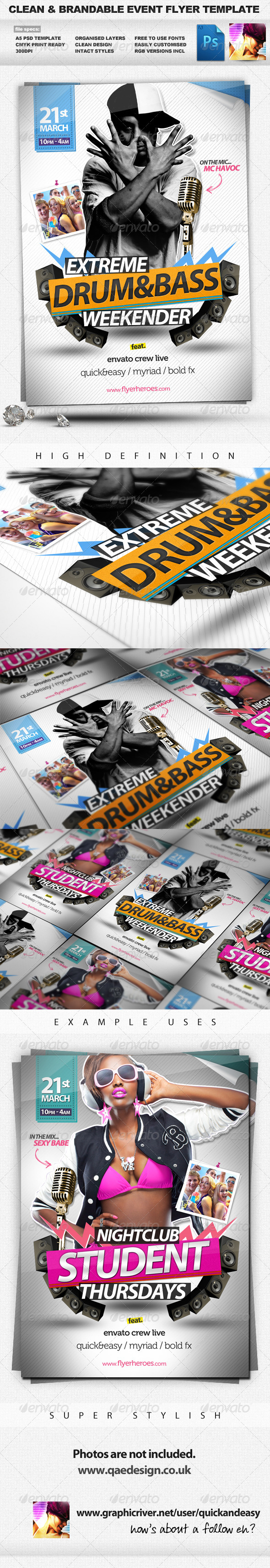 Drum&Bass - Clean Brandable A5 PSD Flyer Template - Clubs & Parties Events
