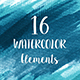 16 Blue Watercolor Design Elements - GraphicRiver Item for Sale