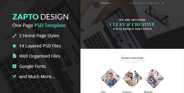 Zapto Design – One Page PSD Template