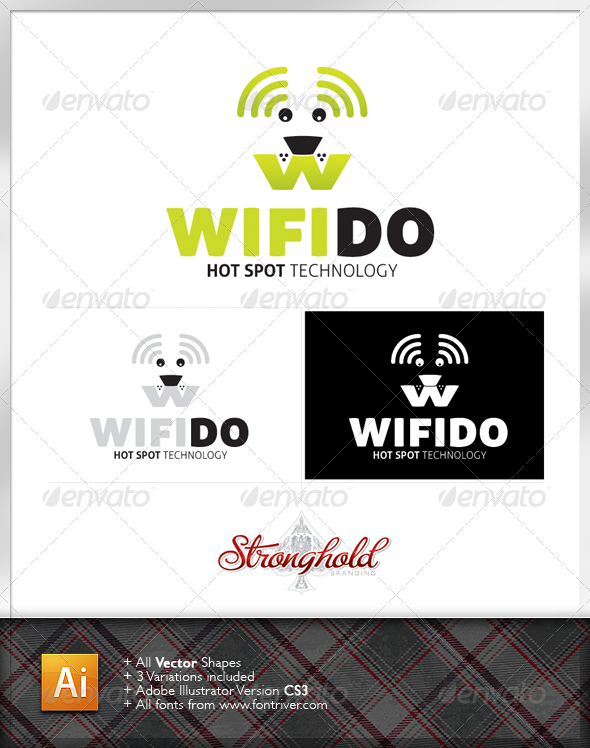Wifi Fido Dog Logo Template - Animals Logo Templates