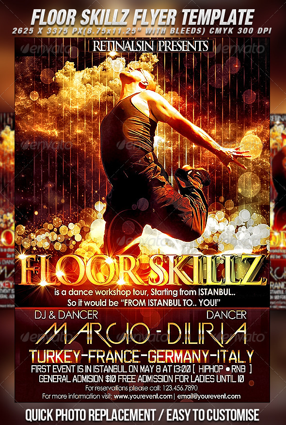 Floor Skillz Dance Flyer - Clubs & Parties Events