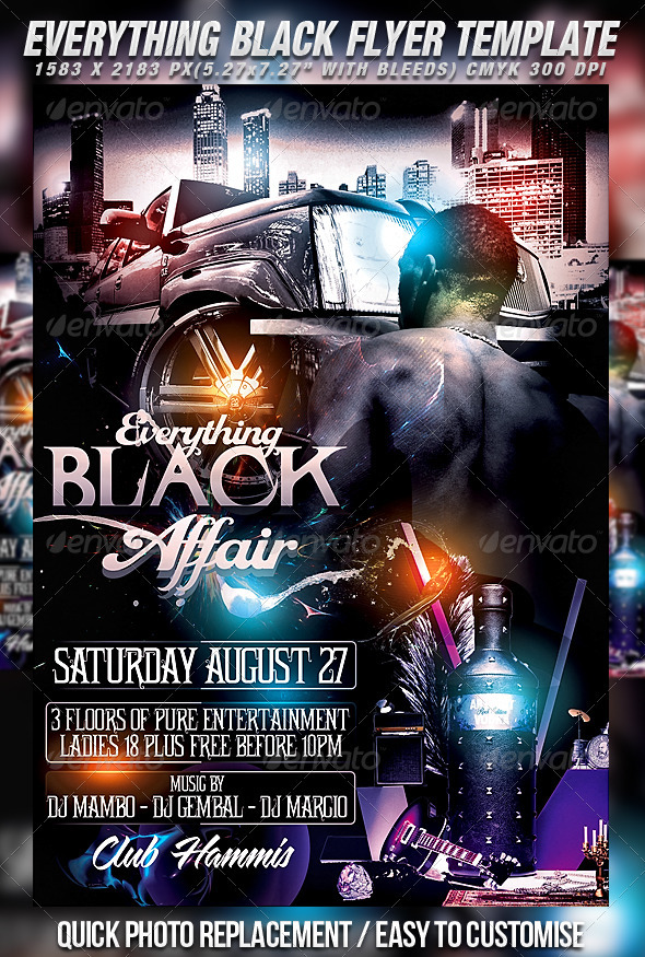 Everything Black Flyer Template - Clubs & Parties Events