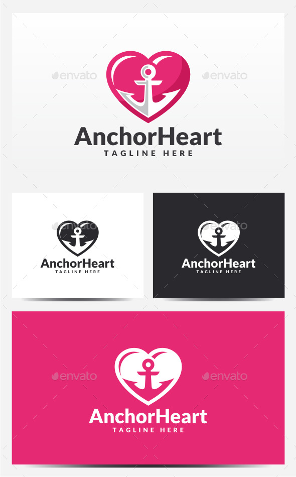 Anchor Heart Logo - Objects Logo Templates