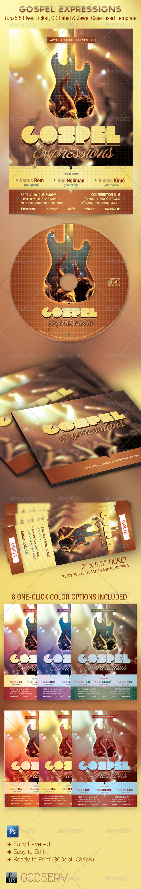 Gospel Expressions Church Flyer Ticket CD Template - Church Flyers