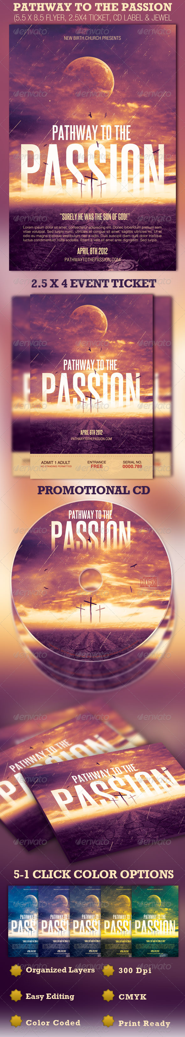Pathway to the Passion Flyer, Ticket and CD - Church Flyers
