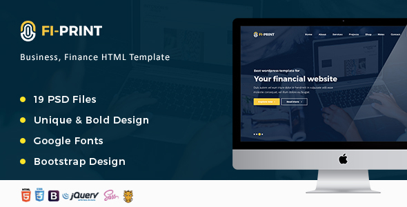 Fi-Print – Business, Finance, Accountant Corporate HTML Template