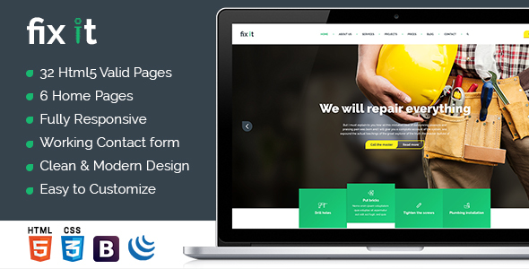 Fixit Construction - Construction Template - Business Corporate