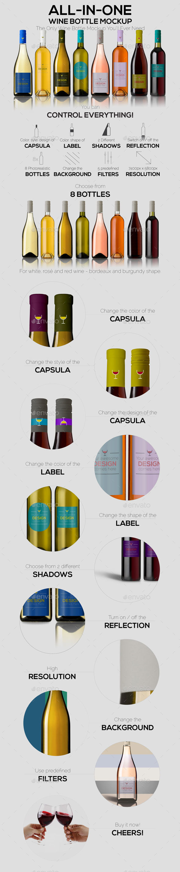 All-In-One Wine Bottle MockUp - Food and Drink Packaging