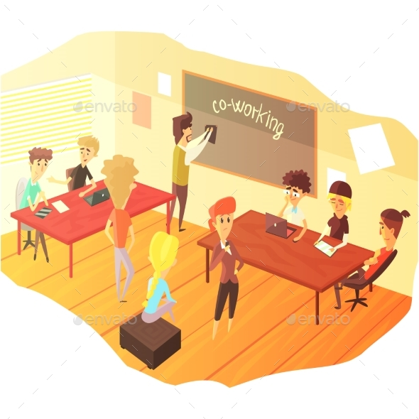 Co-working And Teamwork Class - People Characters