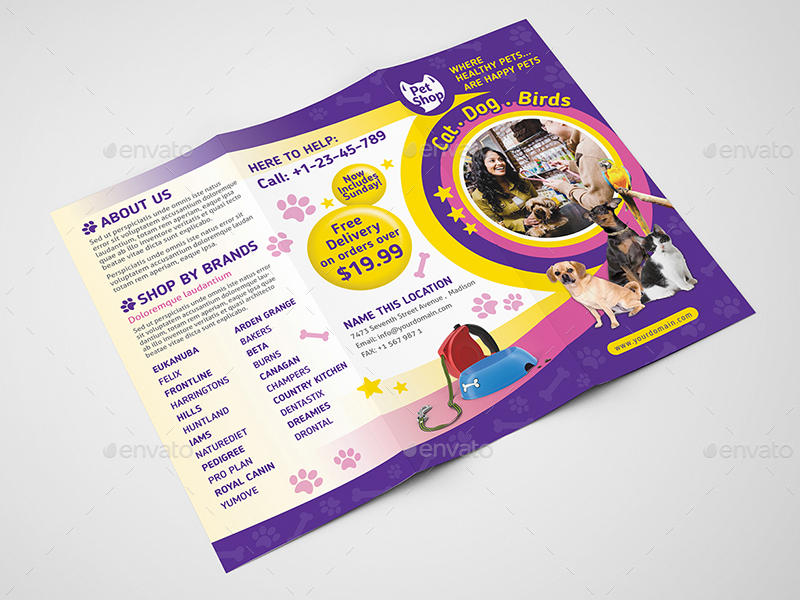 Pet Store Trifold Brochure Template By Wutip2 Graphicriver