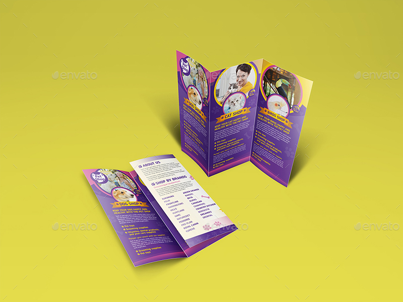 Pet Store Trifold Brochure Template By Wutip GraphicRiver - Tri fold brochures templates