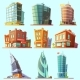Distinctive  Modern and Old  Buildings Icons Set