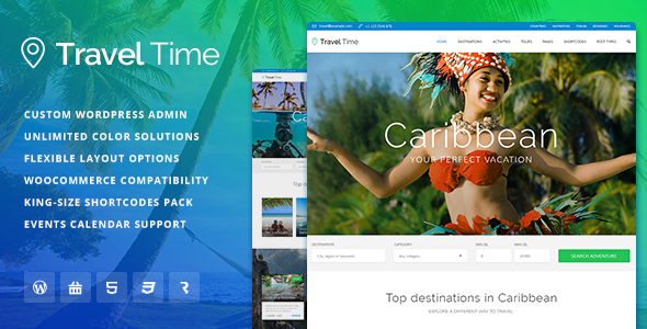 Travel Time - Tour, Hotel & Vacation Travel WordPress Theme