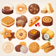 Cookies and Biscuits Icons Set - GraphicRiver Item for Sale