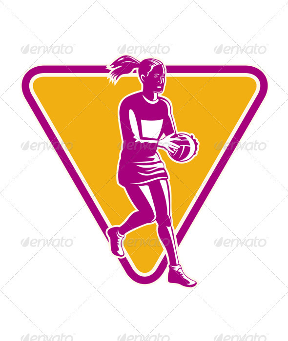 Netball Player Holding Passing Ball  - People Characters