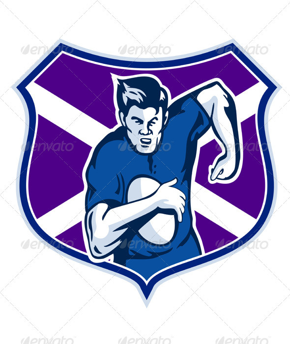 Rugby Player With Scotland Flag Shield - People Characters