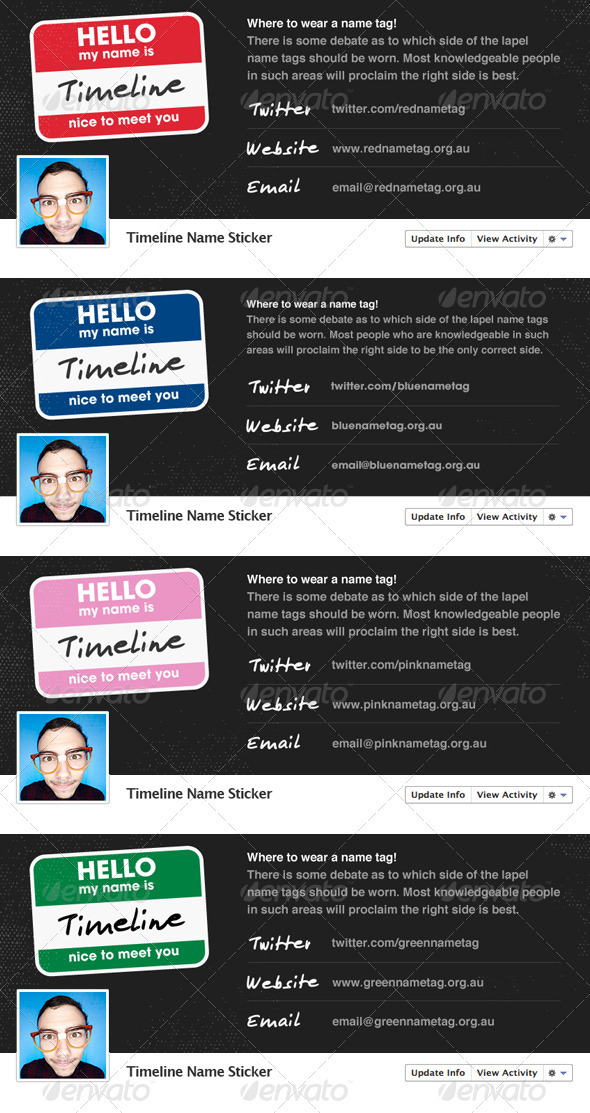 Name Sticker - Facebook Timeline - Social Media Web Elements