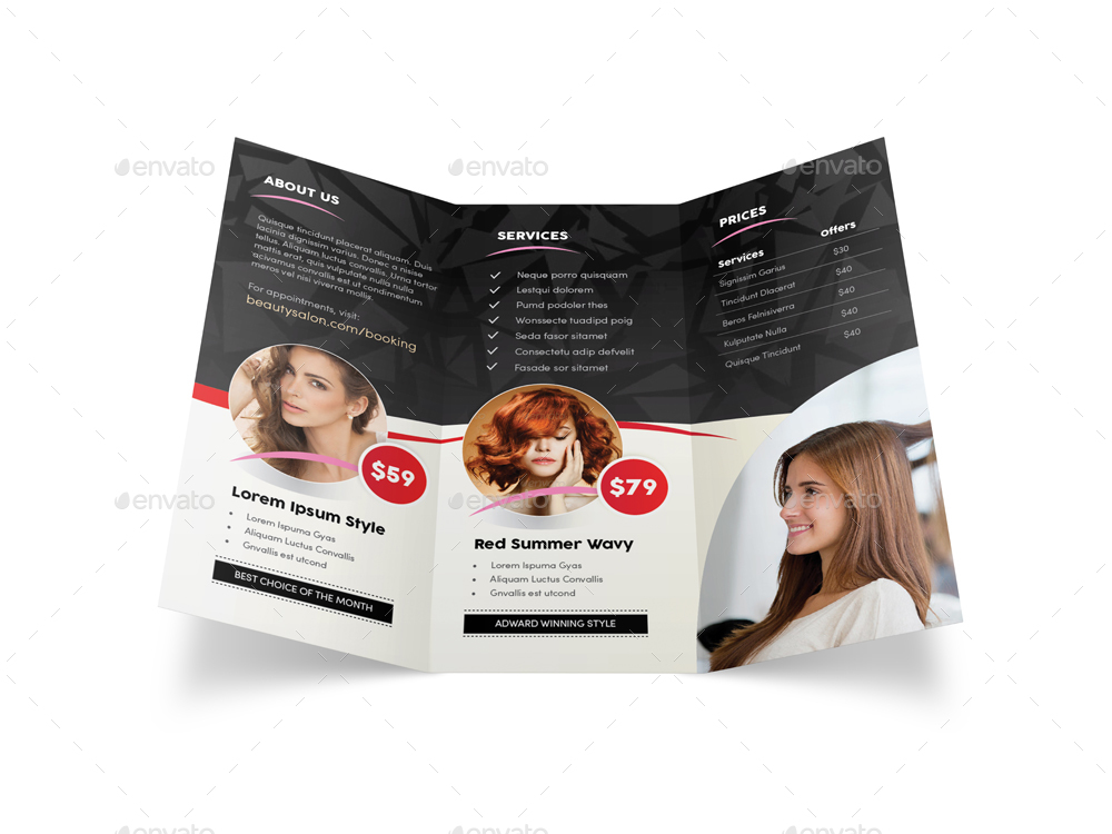 Hair Salon Trifold Brochure  By MikePantone  Graphicriver
