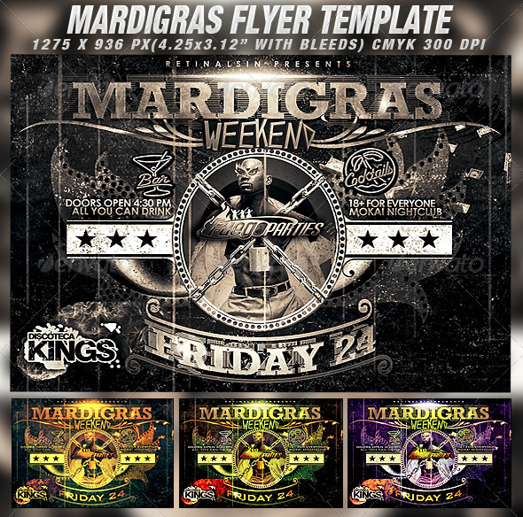 Mardigras Weekend Flyer Template - Clubs & Parties Events