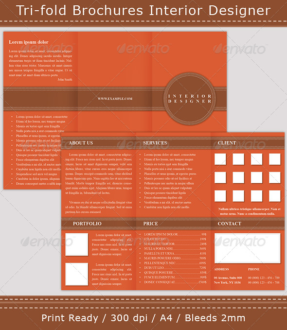 Tri-fold Brochures Interior Designer - Corporate Brochures