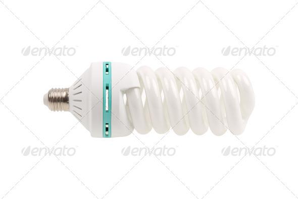 Fluorescent Light Bulb energy saving isolated on white - Stock Photo - Images