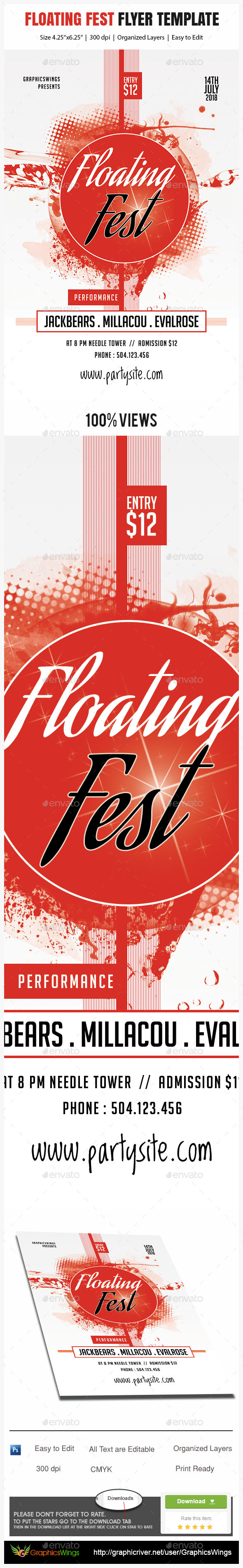 Floating Fest Flyer Template - Events Flyers