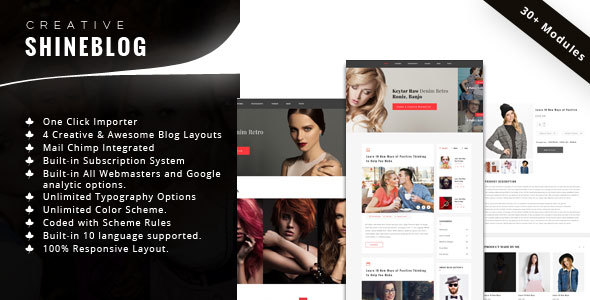 ShineBlog – Blog & e-Commerce WordPress Theme