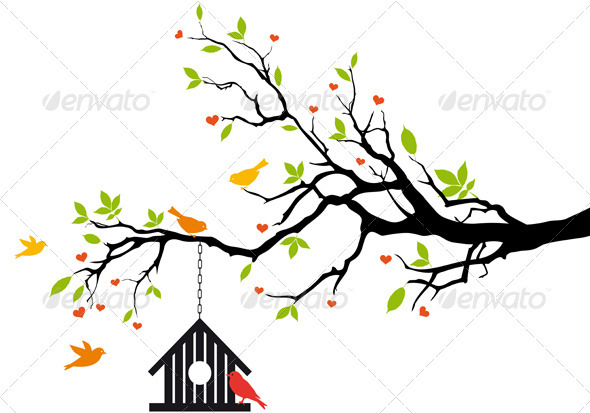 Bird House On Spring Tree, Vector - Flowers & Plants Nature
