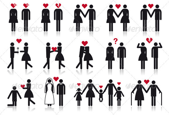 People In Love, Vector Icon Set - People Characters