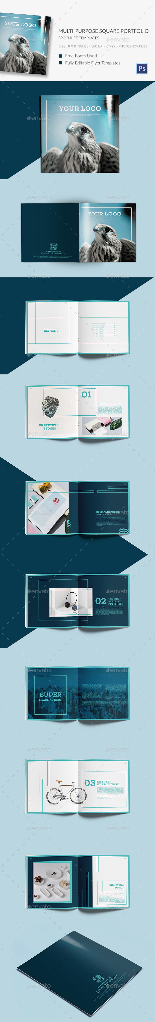 Multi-Purpose Square Portfolio Brochure Template - Portfolio Brochures