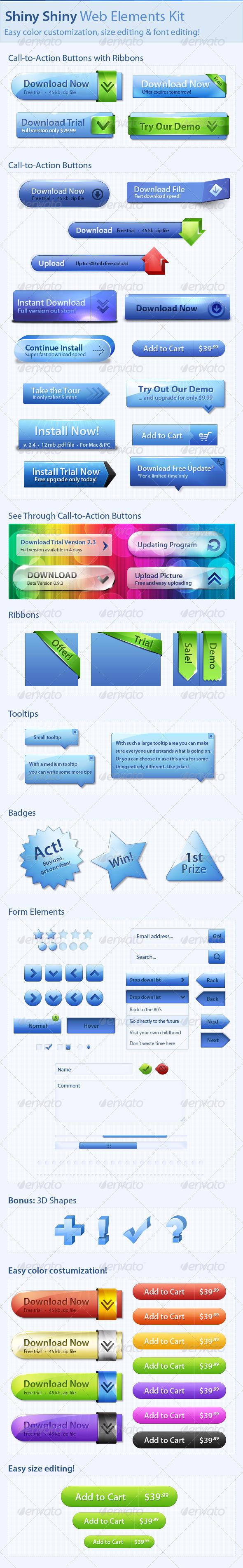 Shiny Shiny Web Elements Kit - Buttons Web Elements