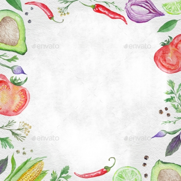 Vegetarian Food Frame - Backgrounds Graphics