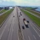 aerial view of the highway on the dam in kronstadt which go cars - VideoHive Item for Sale