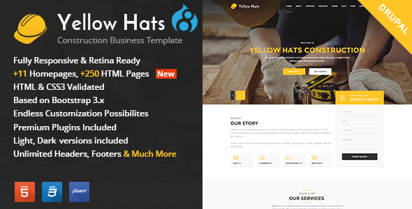 Yellow Hats - Construction, Building & Renovation Drupal Theme - Business Corporate
