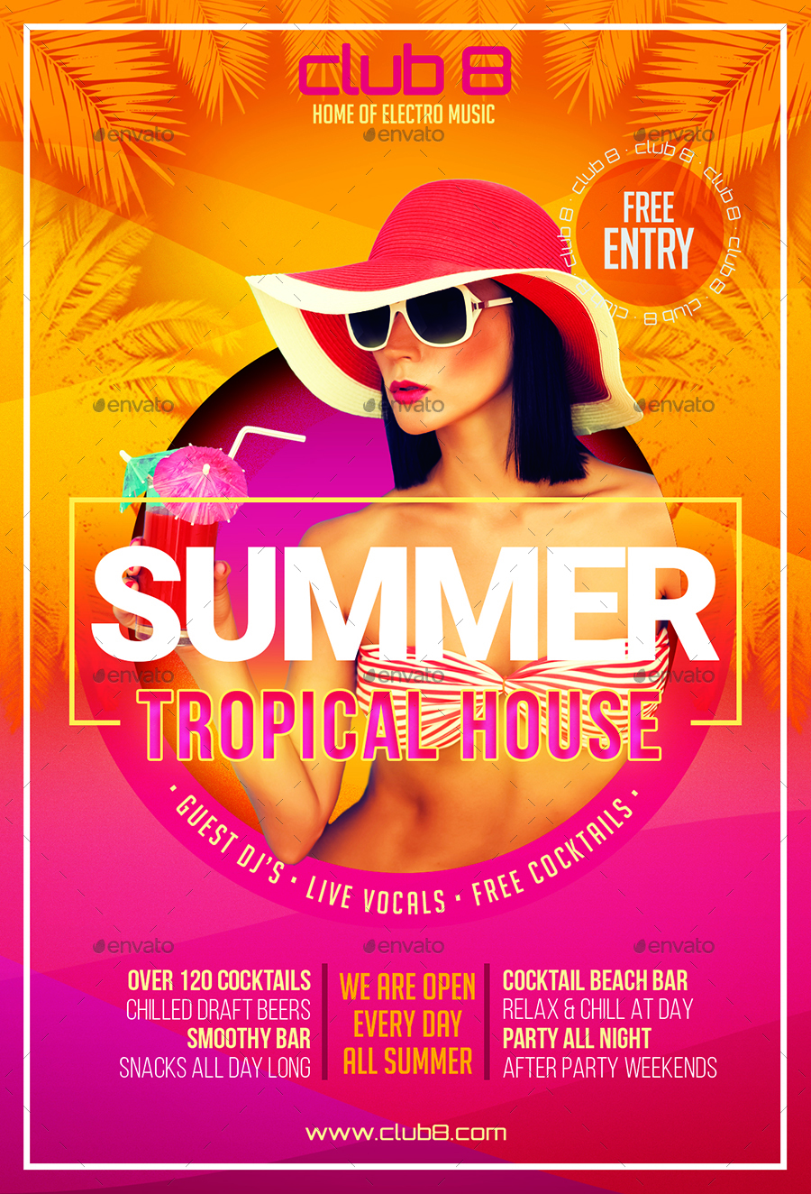 summer tropical house flyer template by designroom1229