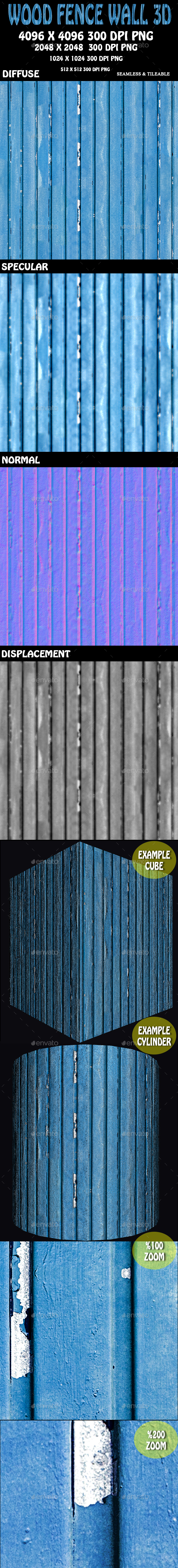 Wood Fence Wall 3D - 3DOcean Item for Sale
