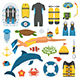 Snorkeler Man and Snorkeling Set - GraphicRiver Item for Sale