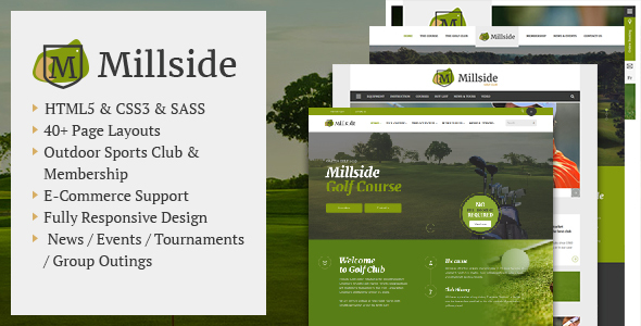 Millside - Golf and Sport Website template - Corporate Site Templates