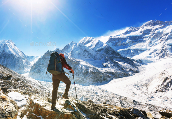 Hike in Himalayas - Stock Photo - Images