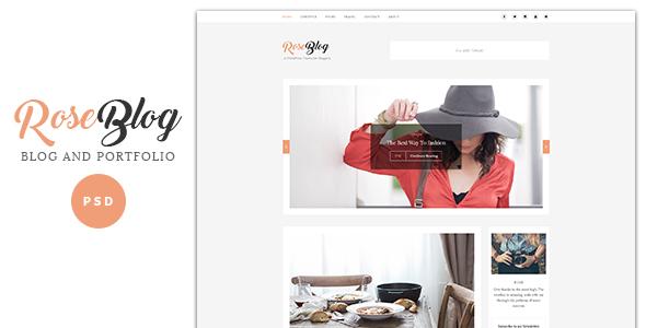 Rose - Elegant Blog and Portfolio PSD Template - PSD Templates