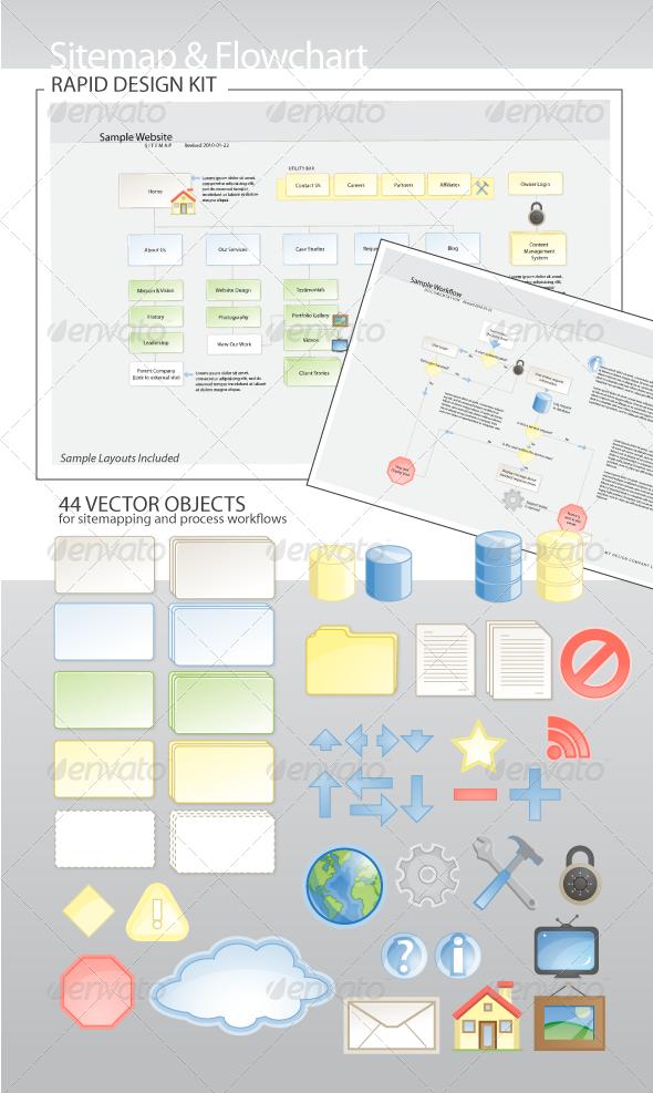 Sitemap & Flowchart Rapid Design Kit - Characters Vectors