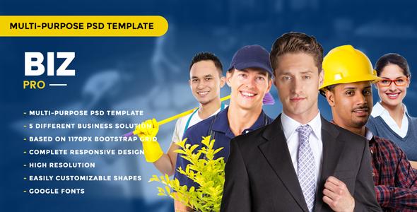 BizPro – Multipurpose PSD Template for any company - Corporate PSD Templates